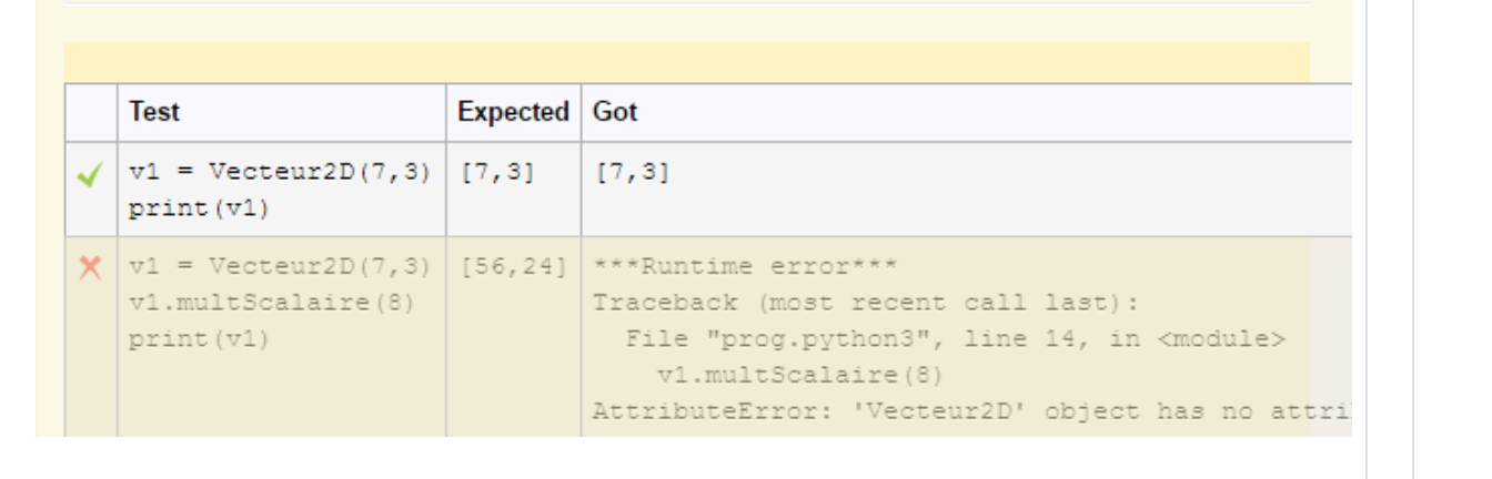 test output with test/expected/got headers