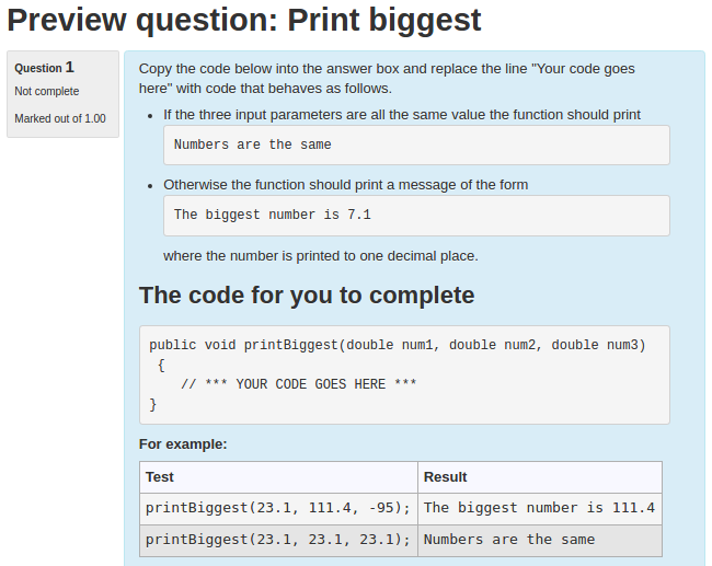 Preview screenshot of Print biggest question