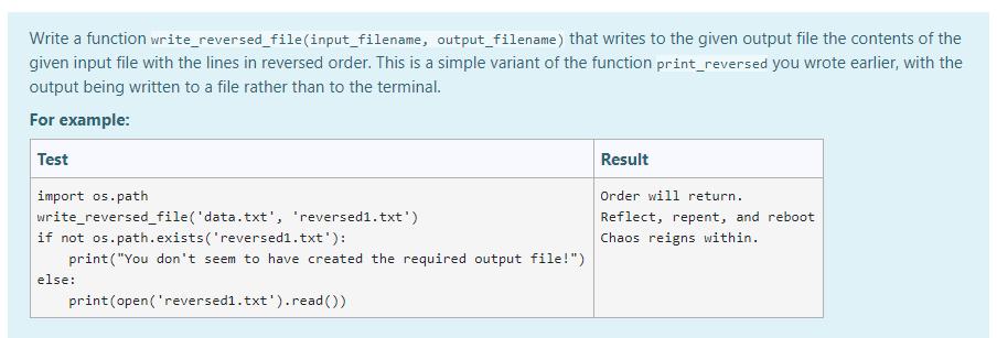Screenshot of file-writing question