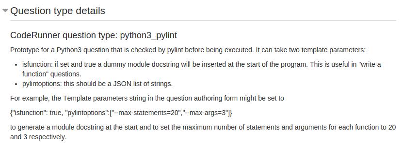 Screen dump of python3_pylint Question type details