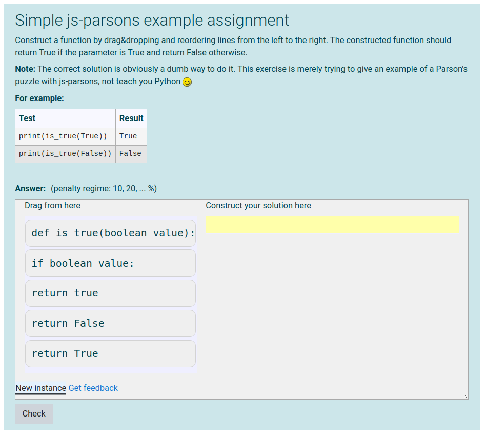 Screen shot of parsons problem in coderunner