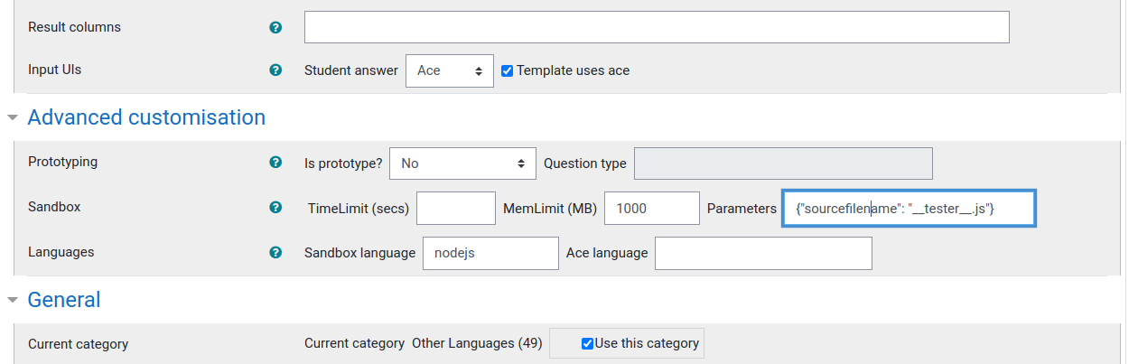 Screenshot of advanced customisation panel
