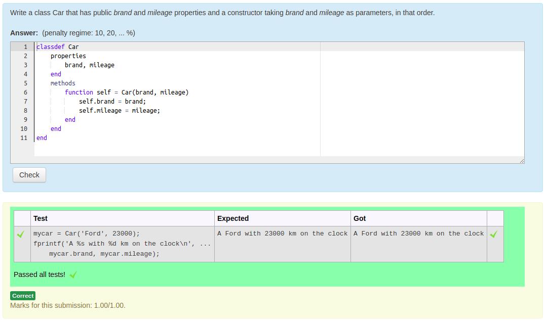 Screenshot of working Classdef question