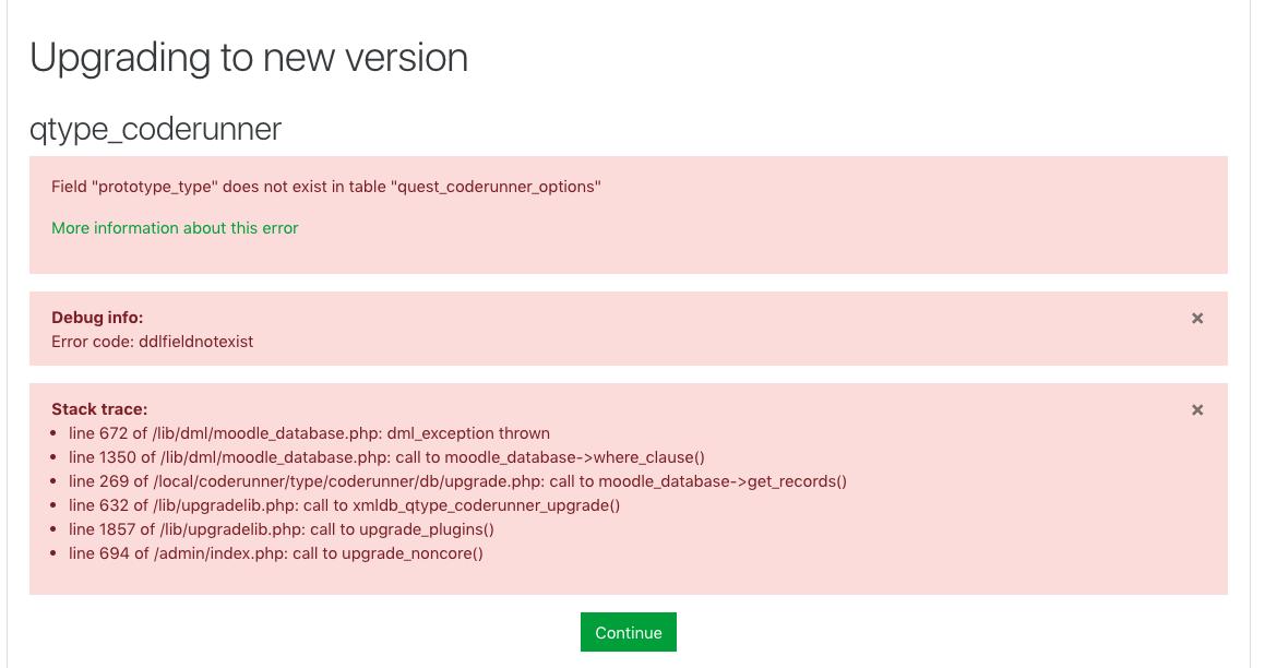 code1.5 beta upgrade error
