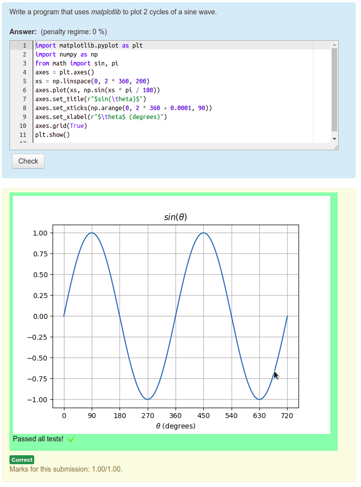 Example question showing matplotlib image in feedback