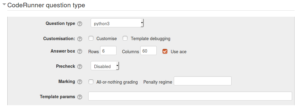 The top panel of the authoring form